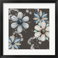 Framed Blue Floral on Sepia I