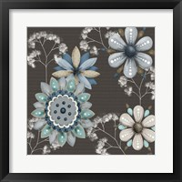 Framed Blue Floral on Sepia II