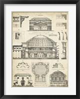 Framed Vintage Architect's Plan III