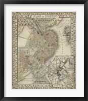 Framed Plan of Boston