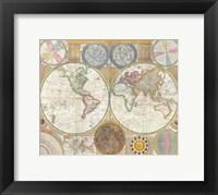 Framed 1794 Samuel Dunn Wall Map of the World in Hemispheres