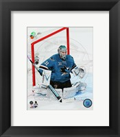 Framed Antti Niemi Hockey Goal Blocking