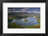 Framed High angle view of a lake, Lake Bled, Julian Alps, Bled, Gorenjska, Slovenia