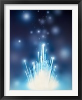 Framed Stars with trails rising from bright white burst of light toward deep blue
