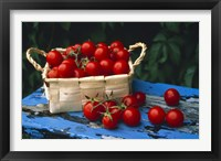 Framed Still life of cherry tomatoes in a rectangular woven basket sitting on distressed blue painted table top