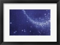 Framed Trail of stars in deep blue sky