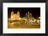 Framed Fountain lit up at night at a town square, Cuzco, Cusco Province, Cusco Region, Peru