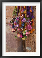 Framed Multi-colored hangings on wall, Tulmas, Purmamarca, Quebrada De Humahuaca, Argentina