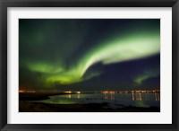 Framed Aurora Borealis in the sky, Alftanes, Reykjavik, Iceland