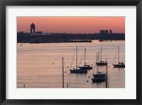 Framed Boats in the sea, Logan International Airport, Boston Harbor, Boston, Massachusetts, USA