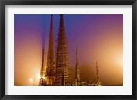 Framed Watts Towers at night, Watts, Los Angeles, California, USA