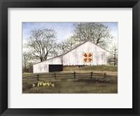 Framed Tulip Quilt Block Barn