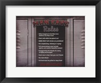Framed Man Cave Rules in a Locker
