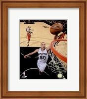 Framed Manu Ginobili Spurs Basketball