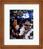 Framed Russell Wilson with the Vince Lombardi Trophy Super Bowl XLVIII