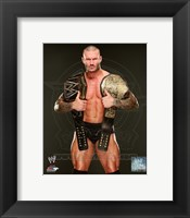 Framed Randy Orton with the WWE Heavyweight Championship Belts 2013 Posed