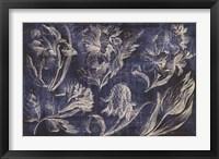 Framed Vintage Tulip Floral Etching Indigo