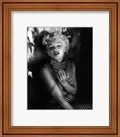 Framed Marilyn Monroe 1954 Striped Dress