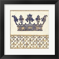 Framed Regal Crown Indigo and Cream