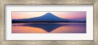 Framed Mt Fuji reflection in a lake, Shizuoka Japan