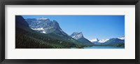 Framed Lake in front of mountains, St. Mary Lake, US Glacier National Park, Montana