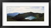 Framed Volcanic lake on a mountain, Mt Kelimutu, Flores Island, Indonesia