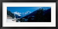 Framed Bridge through Snowcapped mountain range, Valais Canton, Switzerland