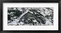 Framed Houses in a village in winter, Tasch, Valais Canton, Switzerland