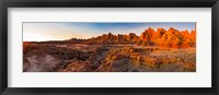 Framed Rock formations on a landscape at sunrise, Door Trail, Badlands National Park, South Dakota, USA