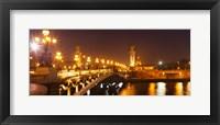Framed Bridge across the river at night, Pont Alexandre III, Seine River, Paris, Ile-De-France, France