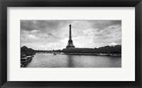 Framed Eiffel Tower from Pont De Bir-Hakeim, Paris, France (black and white)