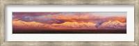 Framed Sunset over mountain range, Sangre De Cristo Mountains, Taos, Taos County, New Mexico, USA