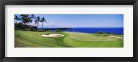 Framed Golf course at the oceanside, The Manele Golf course, Lanai City, Hawaii