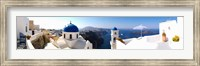 Framed Rooftop view of buildings at the waterfront, Santorini, Greece