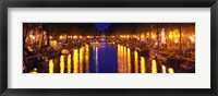 Framed Canal at night, Amsterdam, Netherlands