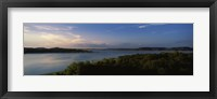 Framed Lake Travis at dusk, Austin, Texas