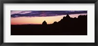 Framed Silhouette of mountains at dusk, Badlands National Park, South Dakota, USA