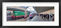 Framed Bullet train at a railroad station, St. Petersburg, Russia