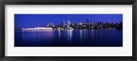 Framed Vancouver skyline at night, British Columbia, Canada
