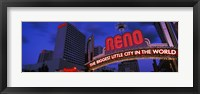 Framed Low angle view of the Reno Arch at dusk, Virginia Street, Reno, Nevada, USA 2013