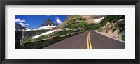 Framed Going-to-the-Sun Road at US Glacier National Park, Montana, USA