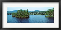 Framed Wooded island, Lake George, New York State, USA
