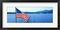 Framed Flag and view from the Minne Ha Ha Steamboat, Lake George, New York State, USA