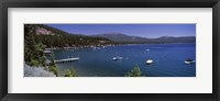 Framed Boats in a lake with mountains in the background, Lake Tahoe, California, USA