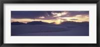 Framed Sand dunes in a desert at dusk, White Sands National Monument, New Mexico, USA