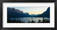 Framed Sunset over St. Mary Lake with Wild Goose Island, US Glacier National Park, Montana, USA