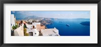 Framed High angle view of a town at coast, Santorini, Cyclades Islands, Greece
