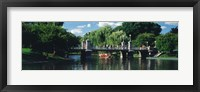Framed Swan boat in the pond at Boston Public Garden, Boston, Massachusetts, USA