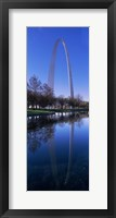 Framed Gateway Arch reflecting in the river, St. Louis, Missouri, USA