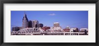 Framed Shelby Street Bridge with downtown skyline in background, Nashville, Tennessee, USA 2013